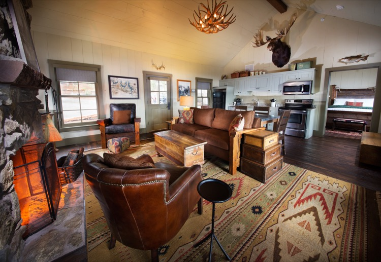 Big Cedar Lodge - Lodging - Lakeside Cottage - Living Area and Fireplace